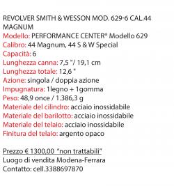 REVOLVER SMITH & WESSON Mod. 629-6 cal.44 Magnum (6 FOTO)