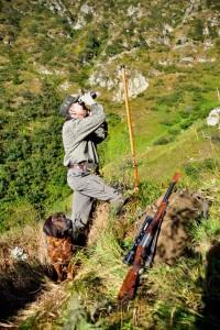 Caccia al cervo in montagna