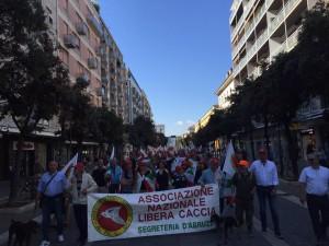 Protesta dei cacciatori a Pescara