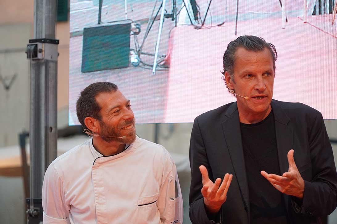 Chef Roberto Abbadati e vignettista Fred