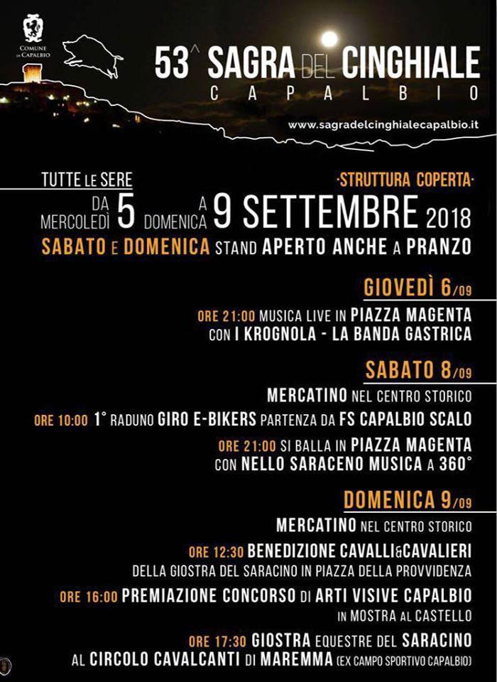 Capalbio (GR) - Imperdibile l'appuntamento, nella seconda settimana di settembre, con una tra le prime sagre della Maremma toscana, la 53ª edizione della tradizionale Sagra del Cinghiale.